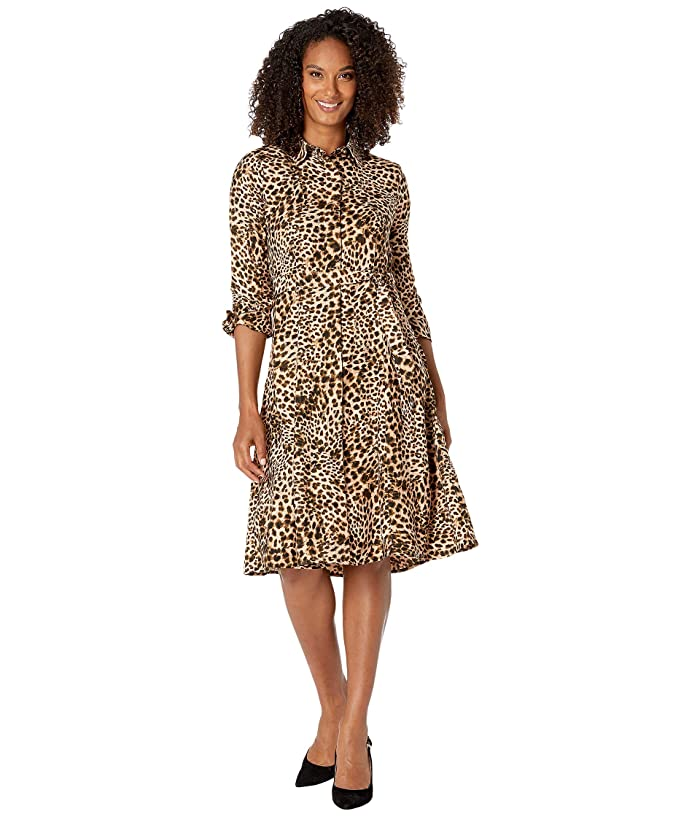 Animal Print Shirtdress (Camel Multi) Women's Dress