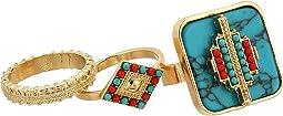 Steve Madden Three-Piece Diamond Shape/Green Square Stone/Band Ring Set