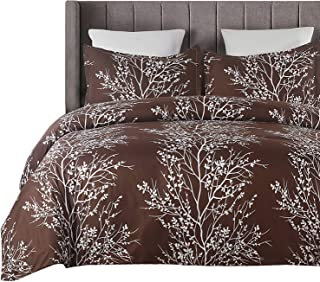 Vaulia Lightweight Microfiber Duvet Cover Set, Printed Tree Branch Pattern Design - Brown, King Size