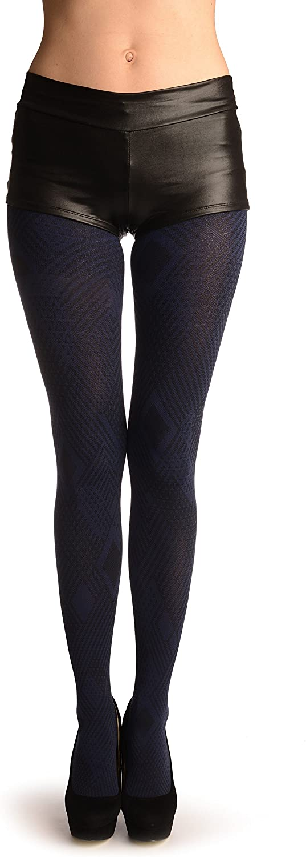 Blue & Black Geometrical Woven Tiles - Pantyhose (Tights)