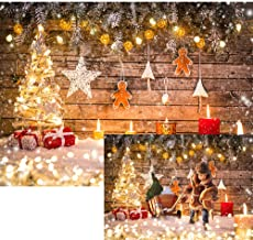 Allenjoy 7x5ft Rustic Wood Christmas Backdrop Gold Glitter Christmas Backdrops for Photography Kids Christmas Backdrop Wood Wall Christmas Backdrops for Party Decorations