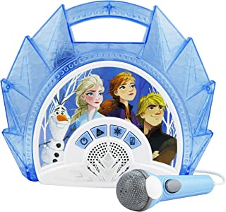 Frozen 2 Sing Along Boombox with Microphone, Built in Music, Flashing Lights, Real Working Mic for Kids Karaoke Machine, Connects Mp3 Player Aux in Audio Device