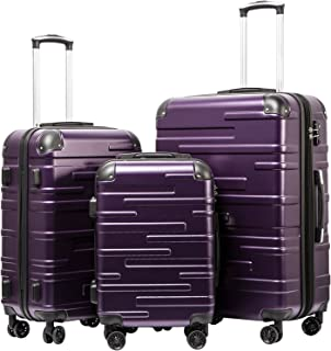 fc643449f479 Coolife Luggage Expandable Suitcase 3 Piece Set with TSA Lock Spinner  20in24in28in (purple)