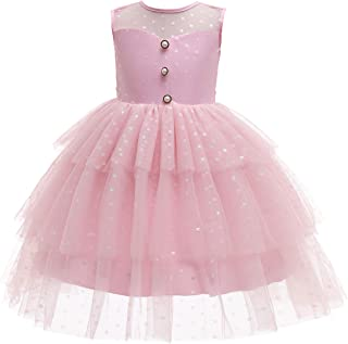 Glamulice Princess Sparkle Tulle Ruffle Dots Print Dress Flower Girls Lace Wedding Bridesmaid Party Dresses