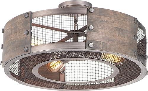 wholesale Maxim new arrival 25264BWWZ Outland Modern online Farmhouse Barnwood & Metal Mesh Panel Drum Pendant/Semi Flush Ceiling Lighting, 4-Light 240 Total Watts, Barn Wood/Weathered Zinc online