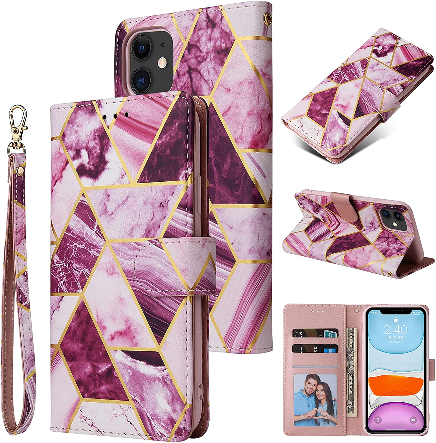 Daole Geometric Marble Wallet Case for iPhone 7 Women Purple, PU Leather Magnetic Flip Case for iPhone 7 & iPhone 8 Printed Pattern with [Wrist Strap] [Card Holder] [Kickstand]