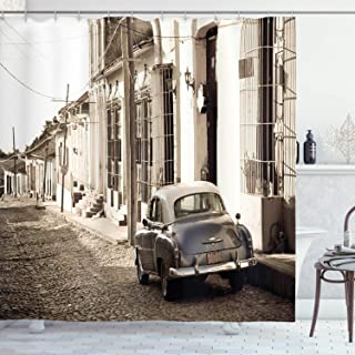 Ambesonne Vintage Car Shower Curtain, Old AmericCar in The Colonial Streets of Trinidad in Cuba Historical Picture, Cloth Fabric Bathroom Decor Set with Hooks, 70