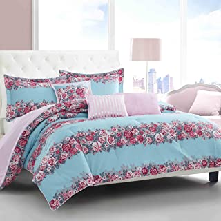 Betsey Johnson Banded Floral Comforter Set, Full/Queen, Turquoise