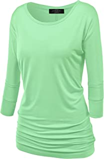Women's Crew/V Neck 3/4 Sleeve Drape Dolman Shirt Top with Side Shirring XS-5XL Plus Size-Made in USA