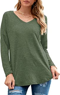 Women V-Neck Shirts Casual Loose Fit Tunic Top Baggy...
