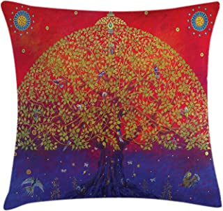Ambesonne Ethnic Throw Pillow Cushion Cover, Bodhi Tree of Life Themed Eastern Growth Artwork Print, Decorative Square Accent Pillow Case, 18