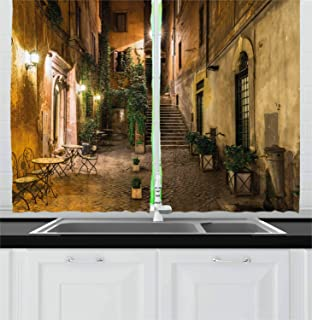 Ambesonne Italian Kitchen Curtains, Old Courtyard Rome Italy Cafe Chairs City Historic Houses in Street, Window Drapes 2 Panel Set for Kitchen Cafe Decor, 55
