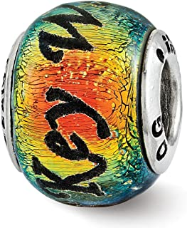 Sterling Silver Reflections Key West Orange Dichroic Glass Bead
