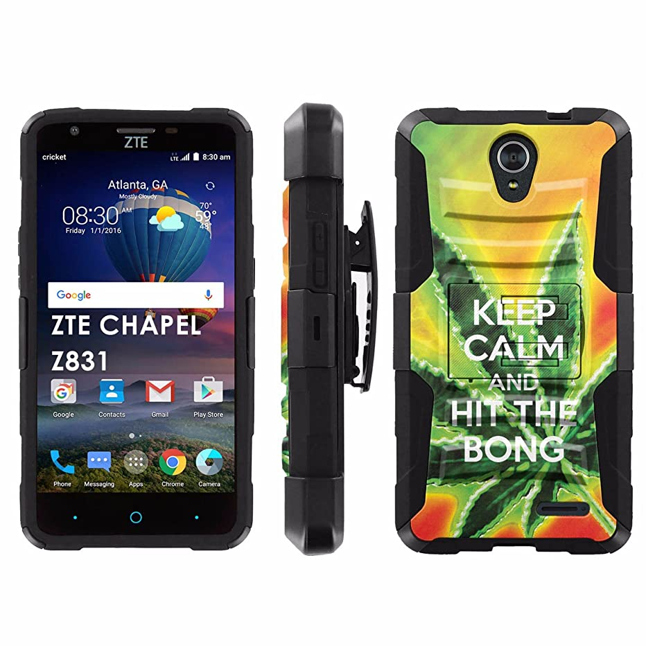 ZTE Chapel Z831 Phone Cover, Keep Calm Hit the Bong- Black Blitz Hybrid Armor Phone Case for [ZTE Chapel Z831] with [Kickstand and Holster]