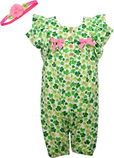 Baby Girl's St Patrick's Day Outfit - Green Shamrock Coverall Romper with Headband