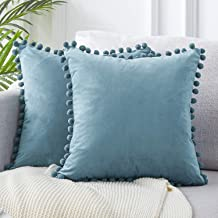 Topfinel Decorative Throw Pillow Covers for Couch Bed Soft Particles Velvet Solid Cushion Covers with Pom-poms 18 x 18 Inc...