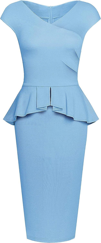 HOMEYEE Women's Retro V Neck Peplum Work Office Business Dresses B580