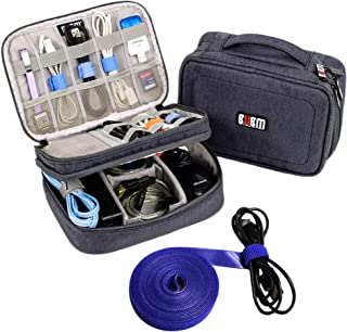 Electronics Organizer Travel Cable Cord Bag Accessories Gadget Gear Storage Cases (Dark Gray)
