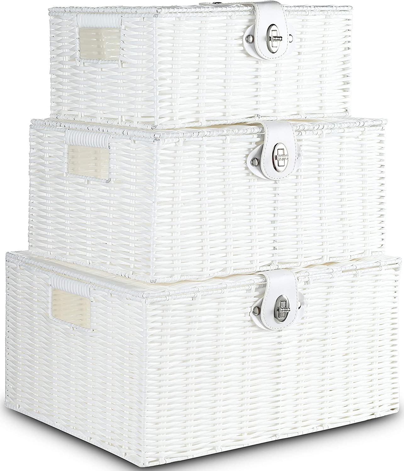 Honygebia White Woven Storage Baskets - Decorative Nesting Boxes with Lids and Locks, Easy Clean (Set of 3)