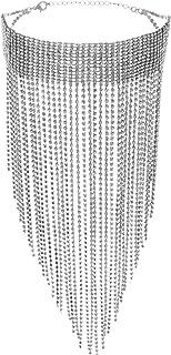 Steve Madden Rhinestone Choker Fringe Tassel Necklace for Women