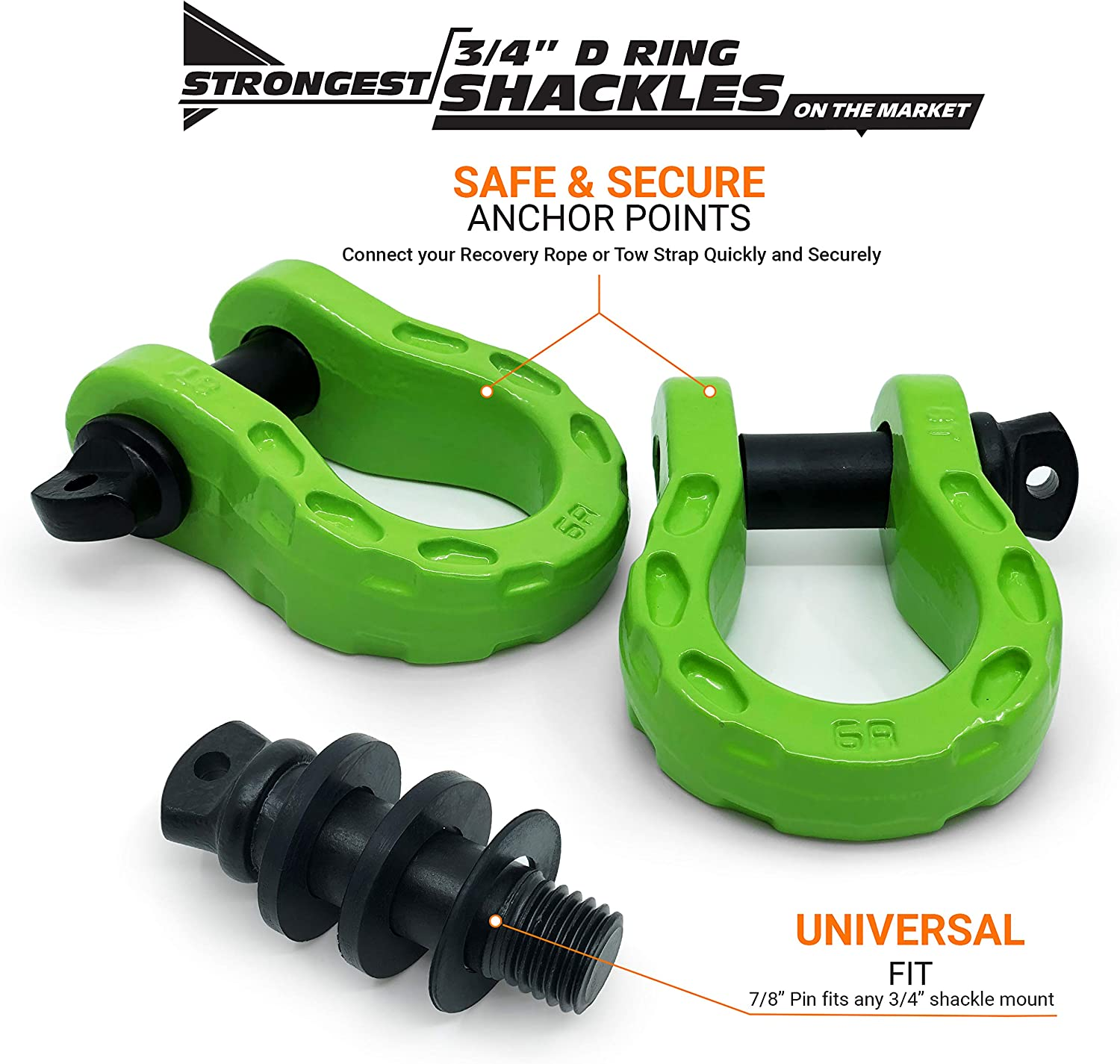 Securely Connect Tow Strap or Winch Rope to 4x4 for Off-Road 4x4 Recovery | 68,000 lbs Capacity Stronger Than 3//4 D Rings Tow Shackle GearAmerica Mega Shackles Blue 7//8 Pin Washers 2PK