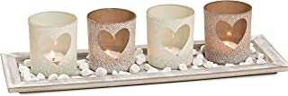 WHW Whole House Worlds Americana Windlight Centerpiece Set of 5, 4 Tealight Candle Holders with Heart Shaped Windows, Decorative Pebbles, 1 Natural Wood Tray, Over 1 Ft Long