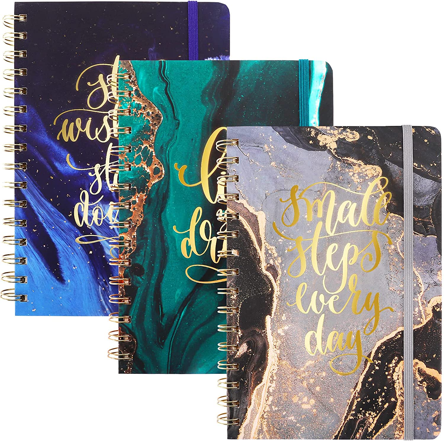 NEW before selling EOOUT 3 Quality inspection Pack A5 Hardcover Notebook College Spiral Ruled
