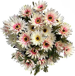 LoveniMen Artificial Chrysanthemum Flowers, Real Touch Silk Daisy Plastic Plants Home Decorations for Bridal Wedding Bouquet Bunches Hotel Party Garden Floral Décor White 4pack