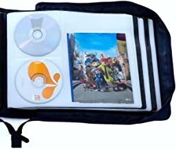 DVD CD Storage Case with Extra Wide Title Cover Pages for Blu Ray Movie Music Audio Media Disk (Portable Carrying Binder H...
