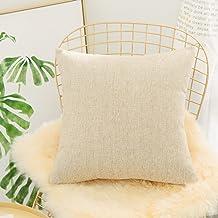 (70cm x 70cm, A-tan) - HOME BRILLIANT Euro Throw Pillow Sham Striped Linen Chenille Blend Decorative Cushion Cover for Cou...