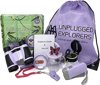 Unplugged Explorers 9 Piece Kids Outdoor Explorer Kit- Backpack, Binoculars, Flashlight, Compass, Bug Collector, Whistle, ...
