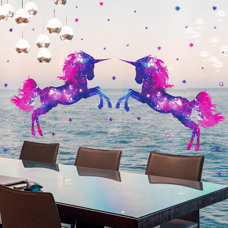 B RW-D80 Dream Galaxy Purple Unicorn Wall Decals Removable Unicorn ...