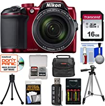 Nikon Coolpix B500 Wi-Fi Digital Camera (Red) with 16GB Card + Case + Batteries & Charger + Tripod + Kit