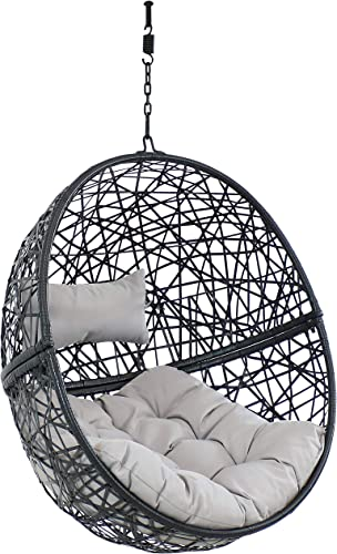 wholesale Sunnydaze Jackson Hanging Egg Chair Swing - Resin Wicker Porch Swing - Modern All-Weather Construction Design - Outdoor Lounging Chair discount - Large popular Basket Patio Swing with Removable Gray Cushions online sale