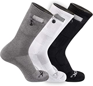 TCK Brands Stash & Dash Performance Zip Pocket Crew Socks