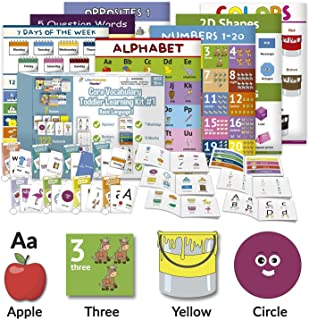 Little Champion Reader Teach Core Vocabulary Toddler Learning Kit 1 - Learn Alphabet, Letters, Number 1-20, Shapes (2D & 3...