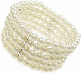 5 Row Stretch Pearl Bead Corsage Cuff Bracelet New