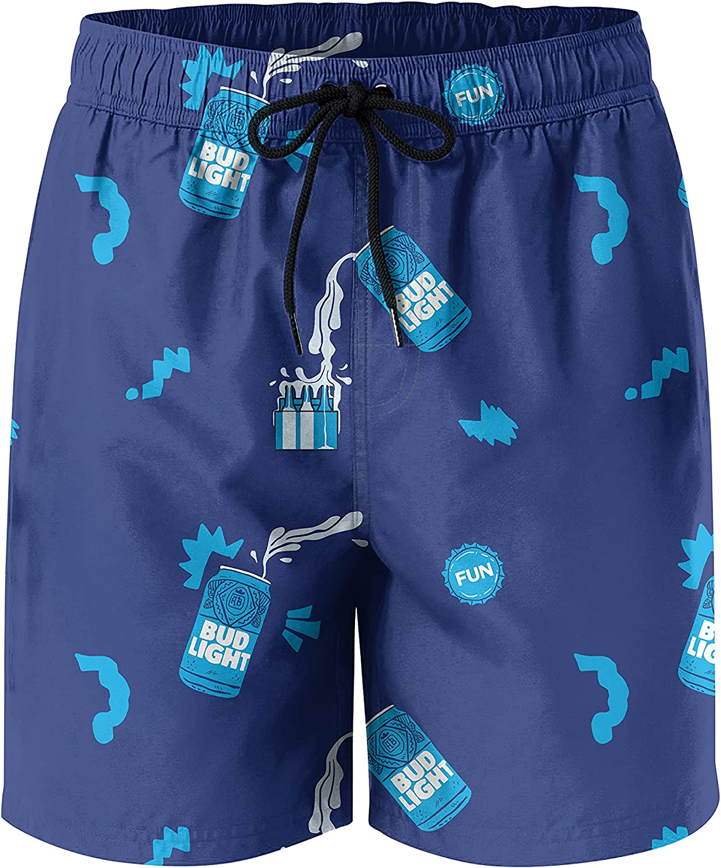 Beer Swim Trunks for Men,Quick Dry Mens Swim Shorts Classic Mesh Short with Pocket Swim Shorts