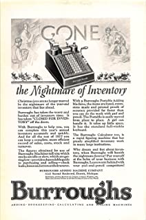 Print Ad 1927 Burroughs Adding Bookkeeping Calculating And Billing Machine
