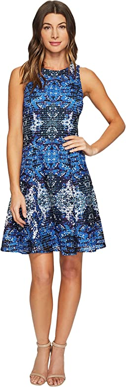 Placed Flower Shield Printed Lace Fit and Flare Dress