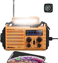 میل لنگ خورشیدی اضطراری AM / FM / SW / NOAA باتری هشدار آب و هوا رادیو قابل حمل با قطب نما ، چراغ قوه 5W LED ، چراغ خواندن ، هشدار SOS ، پاور بانک 2000mAh برای کمپینگ خانگی شارژر تلفن همراه
