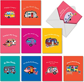 10 Pack 'Happy Campers' All Occasion Blank Greeting Cards - Bulk Boxed Set of Assorted Mini Note Cards with Envelopes - Adventure, Travel and Road Trip Stationery 4 x 5.12 inch AM6413OCB-B1x10