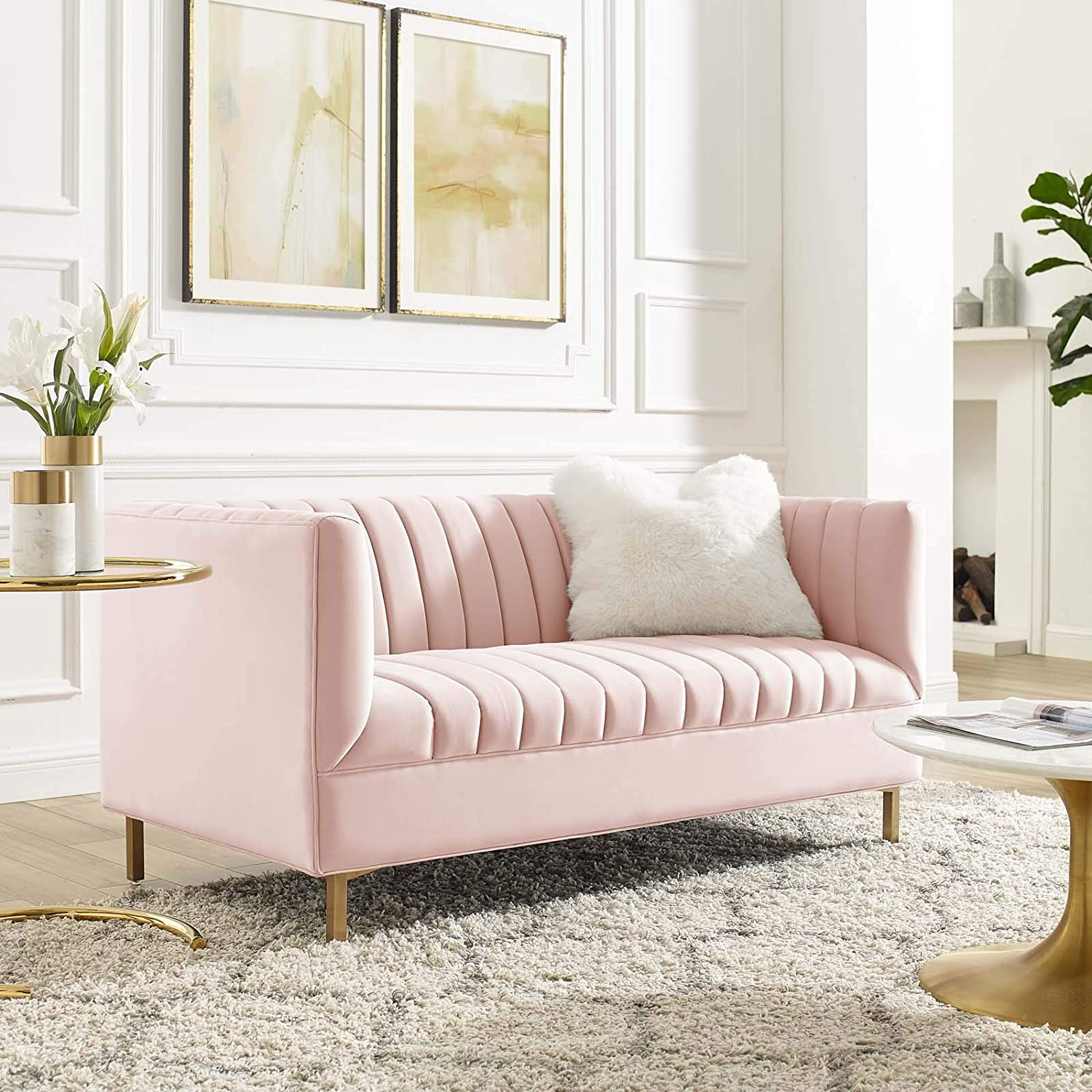 Modway Shift Channel Tufted Pink Don't miss the campaign shopping Performance Velvet Loveseat