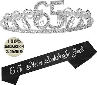 65th Birthday Tiara and Sash, Happy 65th Birthday Party Supplies, 65th Glitter Satin Sash and Crystal Tiara Birthday Crown for 65th Birthday Party Supplies and Decorations (Tiara+Sash) (Silver)