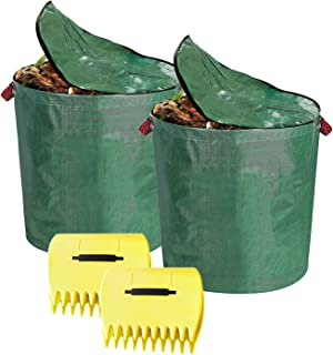 Reusable Yard Waste Bags with lid,2 Pack 106Gallons Garden Waste Bags and 2 Pair Lawn Claws,for Lawn and Garden Cleanup (C...