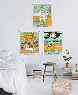 """Madhu International Tarot Flag Tapestry The Sun The Moon The Star Tapestry Hippie Cotton Printed Handmade Wall Hanging Wall Tapestries with Steel Grommets (Pack of 3, 20""""×16"""", Sun & Moon & Star)"""