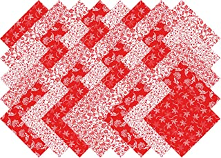 Red and White Deluxe 40 Precut 5-inch Quilting Fabric Charm Squares