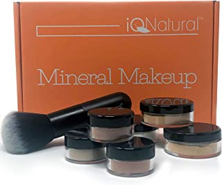 IQ Natural's Large Mineral Makeup Kit | Concealer, Bronzer, Eye Shadow, Setting Powder, 2 Full Size Mineral Foundation | Create A Natural Flawless Look - 8pc Shade[GOLDEN TAN]