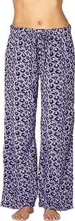 Intimo Women's Purple Animal Print Fleece Pajama Pants Sleepwear Purple M