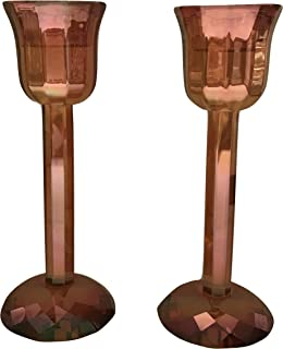 Simon Design Harvest Shimmer Crystal Candlestick Pair, 6 inches